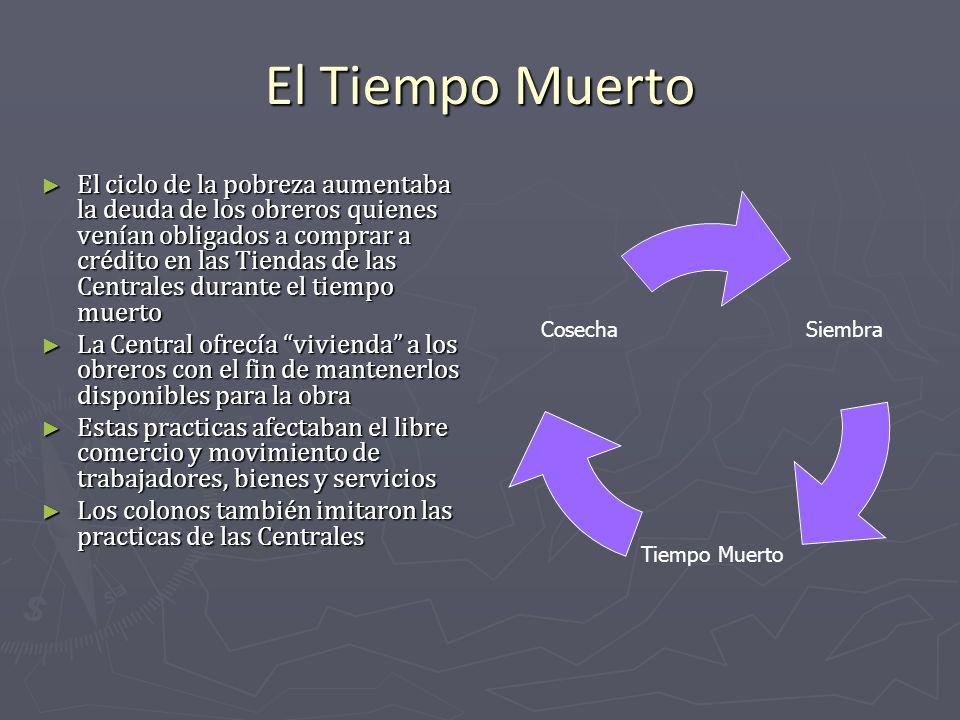 El Tiempo Muerto El ciclo de la pobreza aumentaba la deuda de los obreros quienes venían obligados a comprar a crédito en las Tiendas de las Centrales