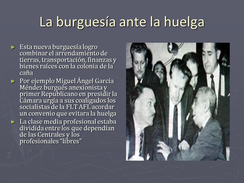 La burguesía ante la huelga Esta nueva burguesía logro combinar el arrendamiento de tierras, transportación, finanzas y bienes raíces con la colonia d