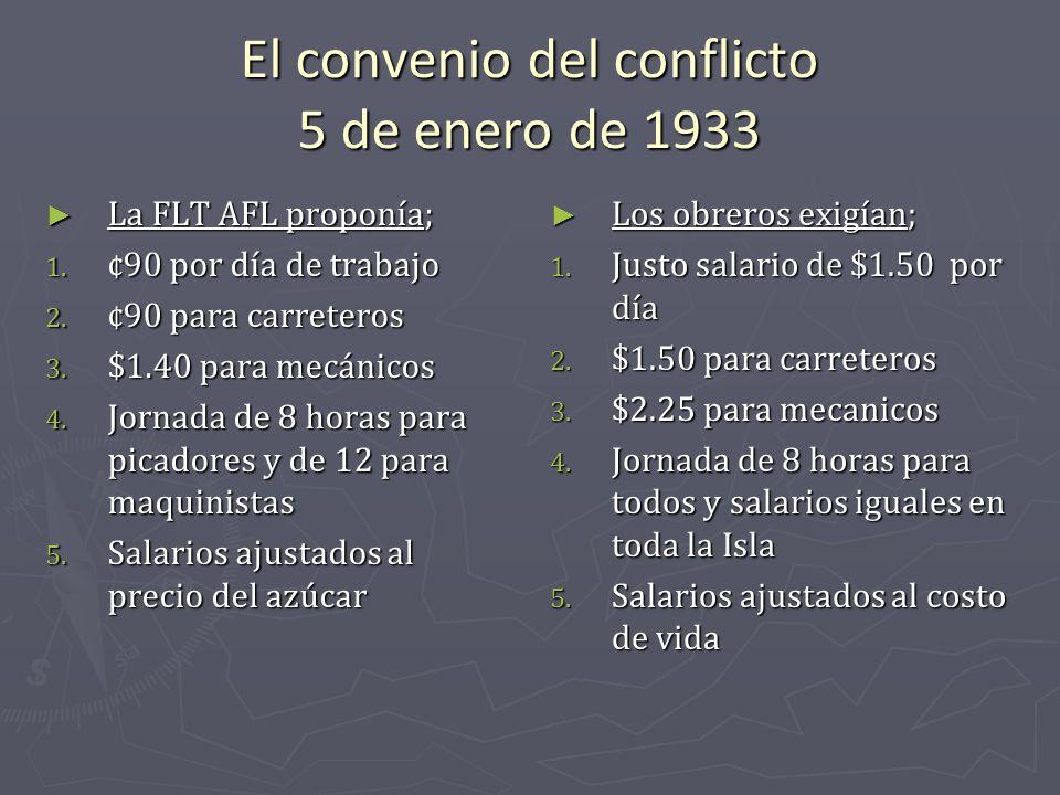 El convenio del conflicto 5 de enero de 1933 La FLT AFL proponía; La FLT AFL proponía; 1. ¢90 por día de trabajo 2. ¢90 para carreteros 3. $1.40 para