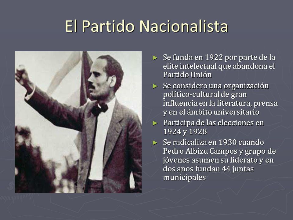 El Partido Nacionalista Se funda en 1922 por parte de la elite intelectual que abandona el Partido Unión Se considero una organización político-cultur