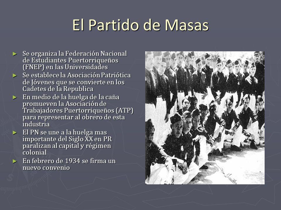 El Partido de Masas Se organiza la Federación Nacional de Estudiantes Puertorriqueños (FNEP) en las Universidades Se organiza la Federación Nacional d