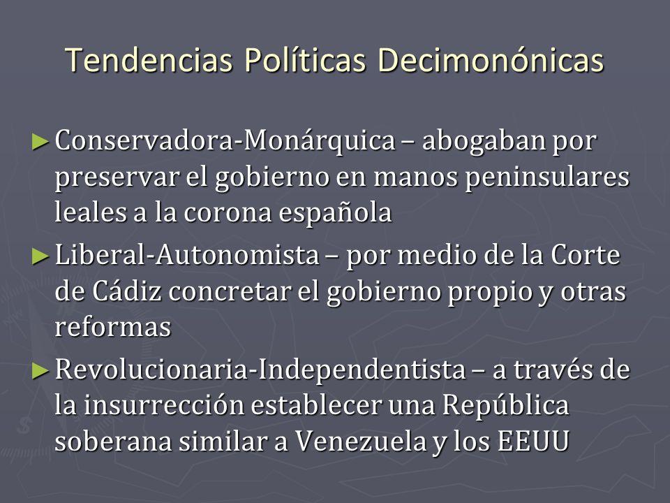 Tendencias Políticas Decimonónicas Conservadora-Monárquica – abogaban por preservar el gobierno en manos peninsulares leales a la corona española Cons