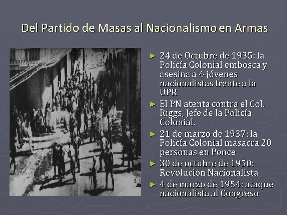Del Partido de Masas al Nacionalismo en Armas 24 de Octubre de 1935: la Policía Colonial embosca y asesina a 4 jóvenes nacionalistas frente a la UPR E