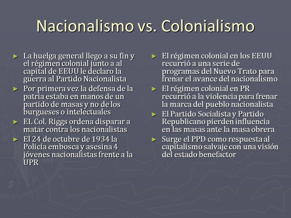 Nacionalismo vs. Colonialismo La huelga general llego a su fin y el régimen colonial junto a al capital de EEUU le declaro la guerra al Partido Nacion