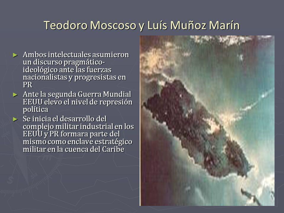 Teodoro Moscoso y Luís Muñoz Marín Ambos intelectuales asumieron un discurso pragmático- ideológico ante las fuerzas nacionalistas y progresistas en P