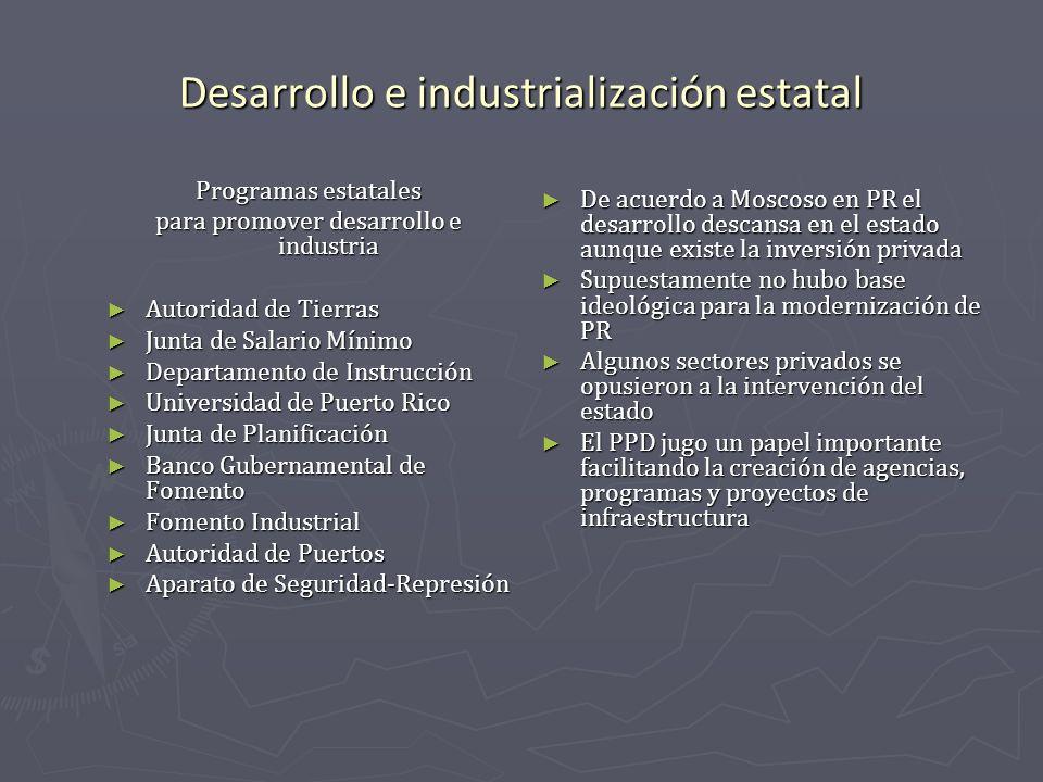 Desarrollo e industrialización estatal Programas estatales para promover desarrollo e industria Autoridad de Tierras Autoridad de Tierras Junta de Sal