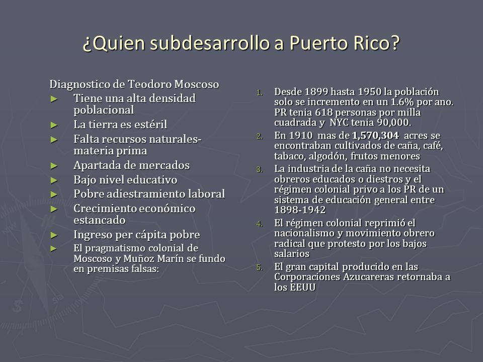 ¿Quien subdesarrollo a Puerto Rico? Diagnostico de Teodoro Moscoso Tiene una alta densidad poblacional Tiene una alta densidad poblacional La tierra e