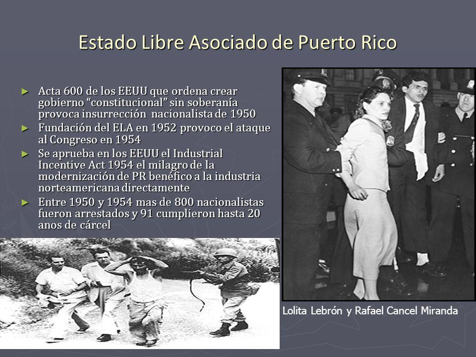 Estado Libre Asociado de Puerto Rico Acta 600 de los EEUU que ordena crear gobierno constitucional sin soberanía provoca insurrección nacionalista de