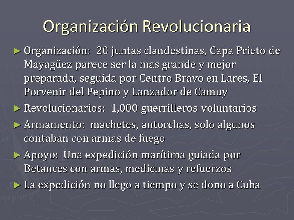 Organización Revolucionaria Organización: 20 juntas clandestinas, Capa Prieto de Mayagüez parece ser la mas grande y mejor preparada, seguida por Cent