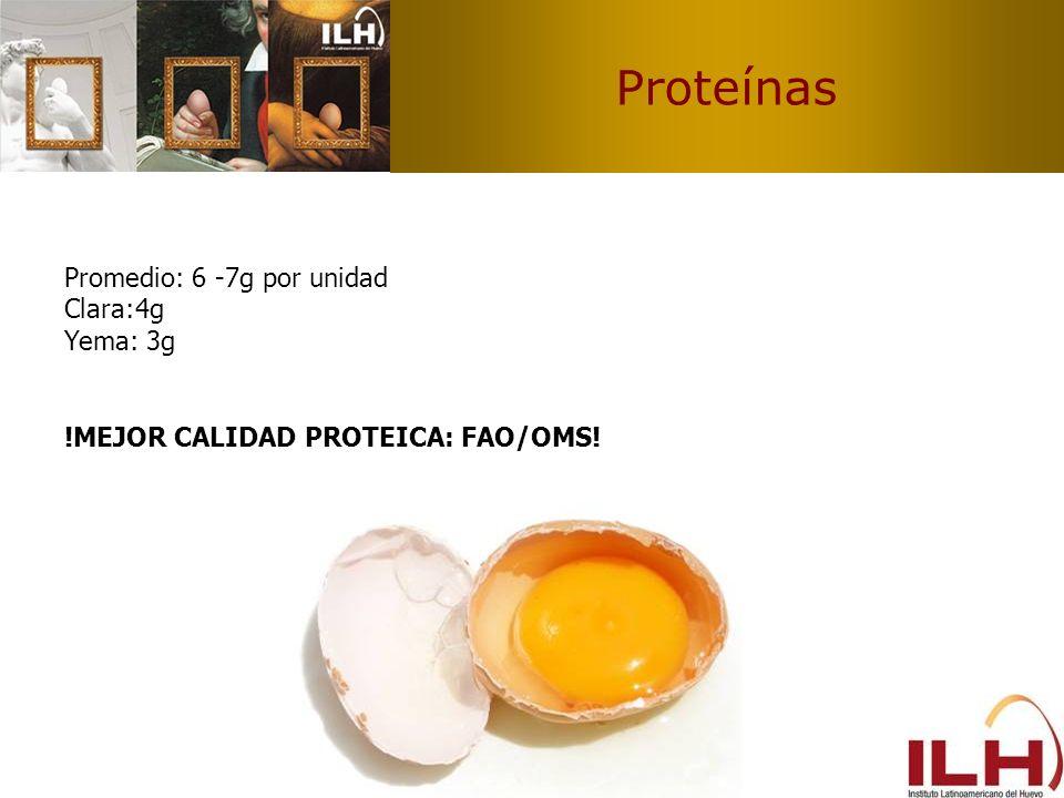 Proteínas Promedio: 6 -7g por unidad Clara:4g Yema: 3g !MEJOR CALIDAD PROTEICA: FAO/OMS!