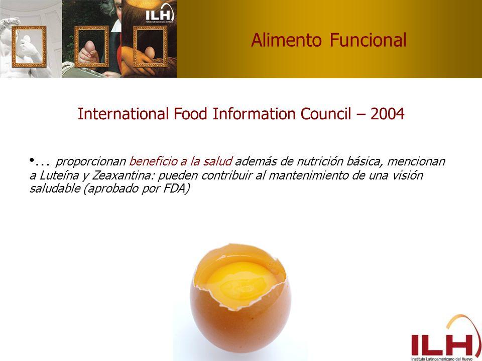 Alimento Funcional International Food Information Council – 2004 … proporcionan beneficio a la salud además de nutrición básica, mencionan a Luteína y
