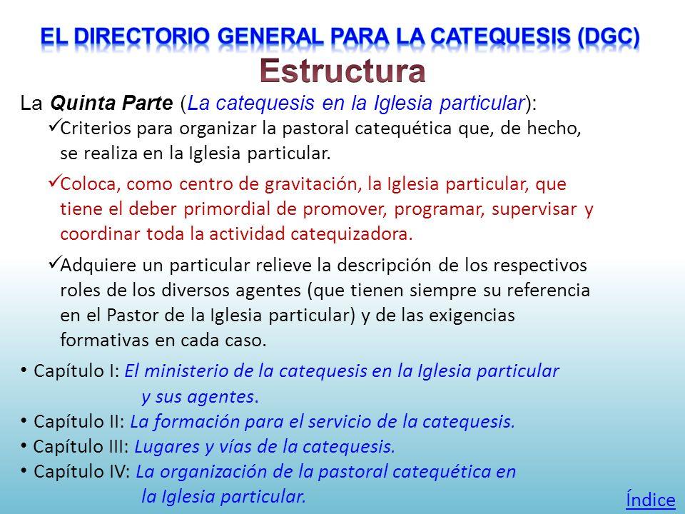 La Quinta Parte (La catequesis en la Iglesia particular): Criterios para organizar la pastoral catequética que, de hecho, se realiza en la Iglesia par