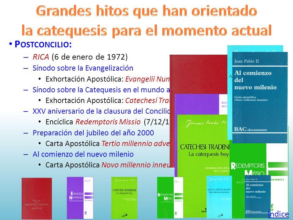 P OSTCONCILIO : – RICA (6 de enero de 1972) – Sínodo sobre la Evangelización Exhortación Apostólica: Evangelii Nuntiandi (8/12/1975) – Sínodo sobre la
