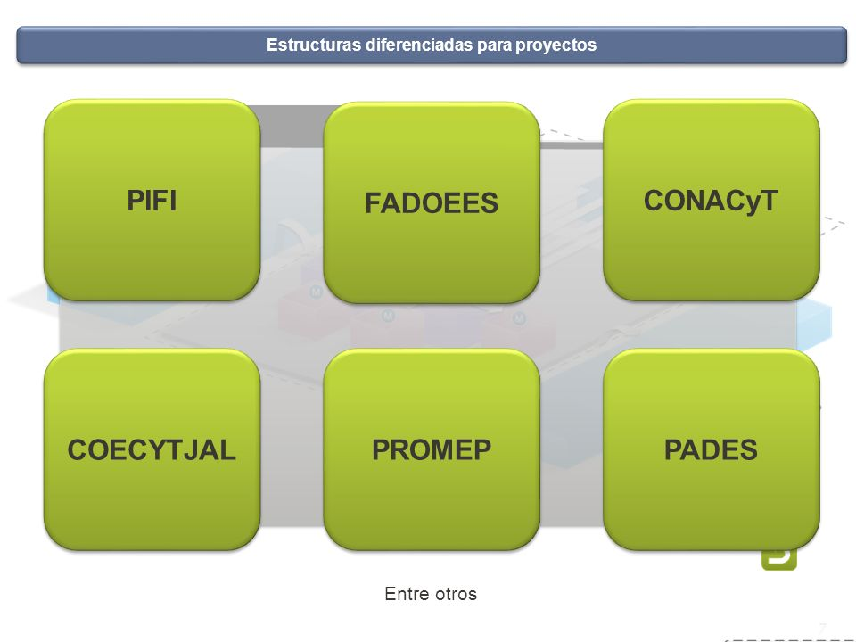 Sistema de servicio social 7 Estructuras diferenciadas para proyectos PIFI FADOEES CONACyT COECYTJAL PROMEP PADES Entre otros