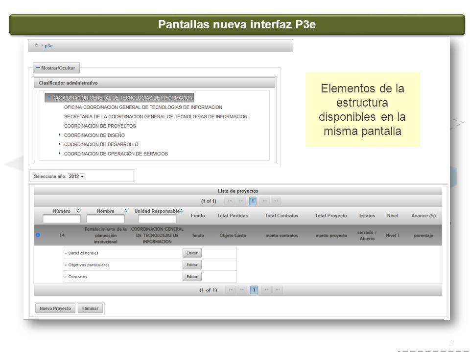 Sistema de servicio social 8 Pantallas nueva interfaz P3e Elementos de la estructura disponibles en la misma pantalla