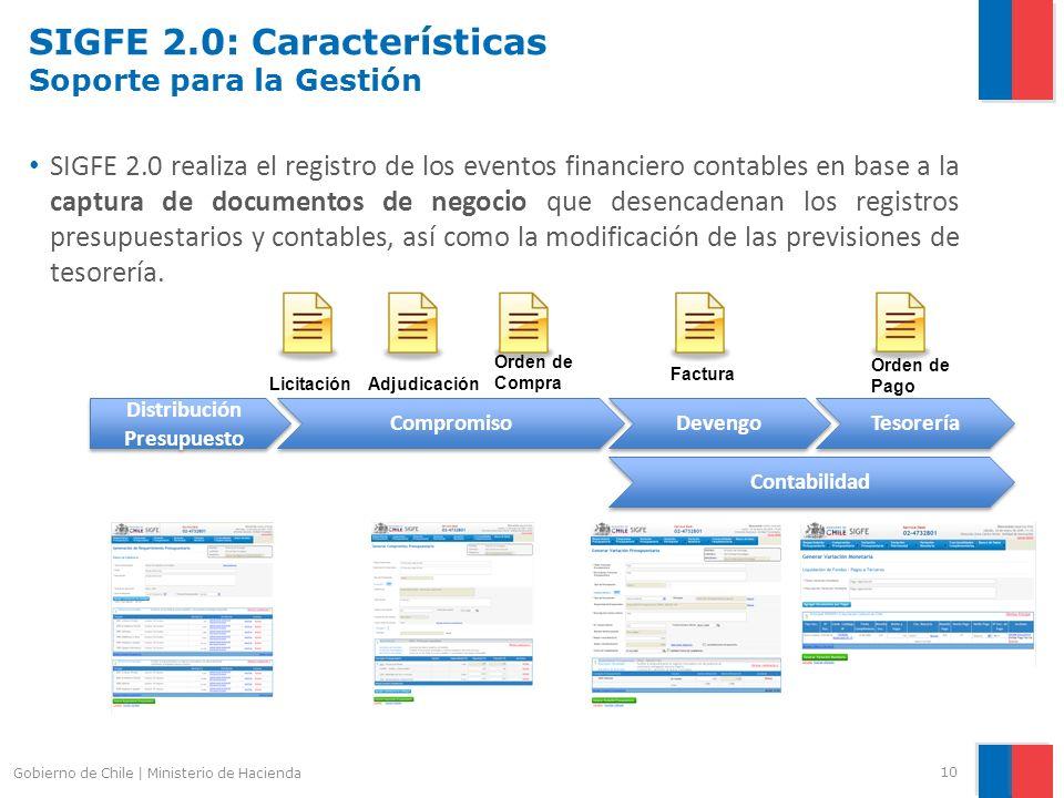 SIGFE 2.0: Características Soporte para la Gestión SIGFE 2.0 realiza el registro de los eventos financiero contables en base a la captura de documento