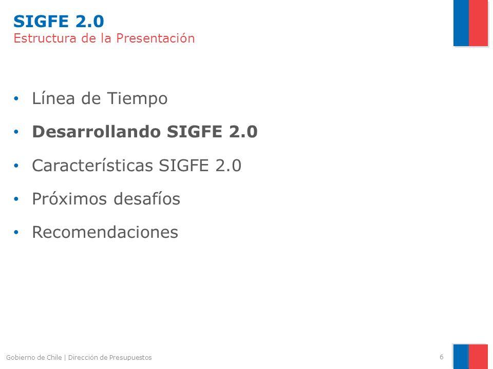 SIGFE 2.0 Estructura de la Presentación Línea de Tiempo Desarrollando SIGFE 2.0 Características SIGFE 2.0 Próximos desafíos Recomendaciones Gobierno d