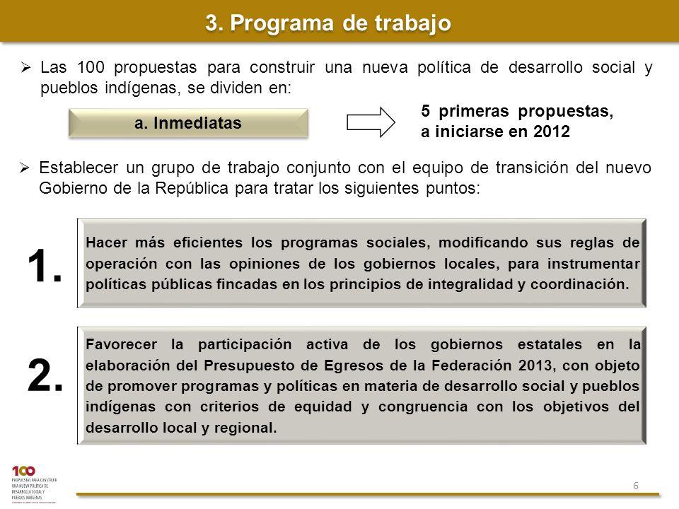 3. Programa de trabajo Las 100 propuestas para construir una nueva política de desarrollo social y pueblos indígenas, se dividen en: 1. a. Inmediatas
