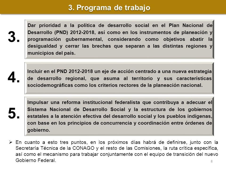 3. Dar prioridad a la política de desarrollo social en el Plan Nacional de Desarrollo (PND) 2012-2018, así como en los instrumentos de planeación y pr