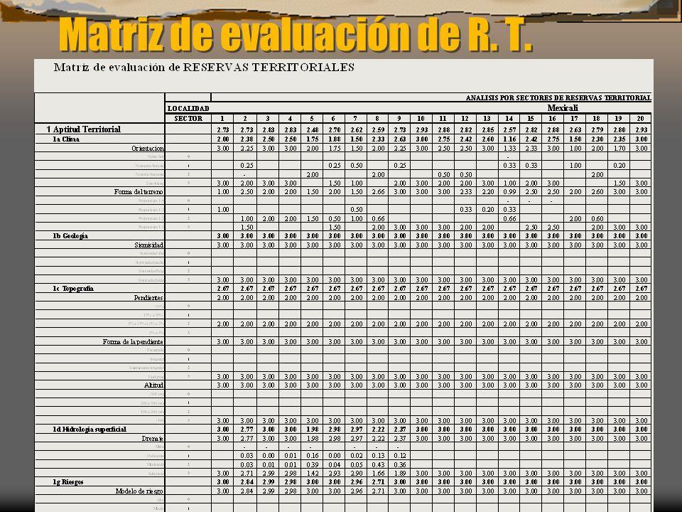 Matriz de evaluación de R. T.