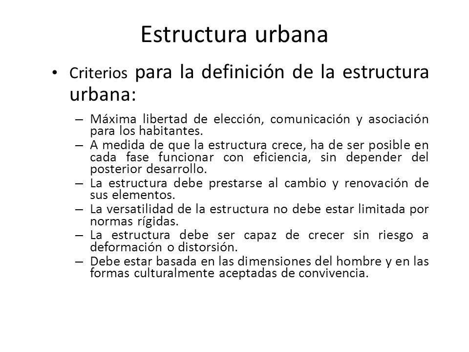 Estructura urbana Criterios para la definición de la estructura urbana: – Máxima libertad de elección, comunicación y asociación para los habitantes.