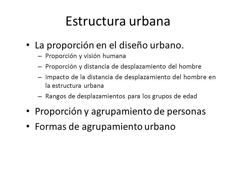 Estructura urbana La proporción en el diseño urbano. – Proporción y visión humana – Proporción y distancia de desplazamiento del hombre – Impacto de l