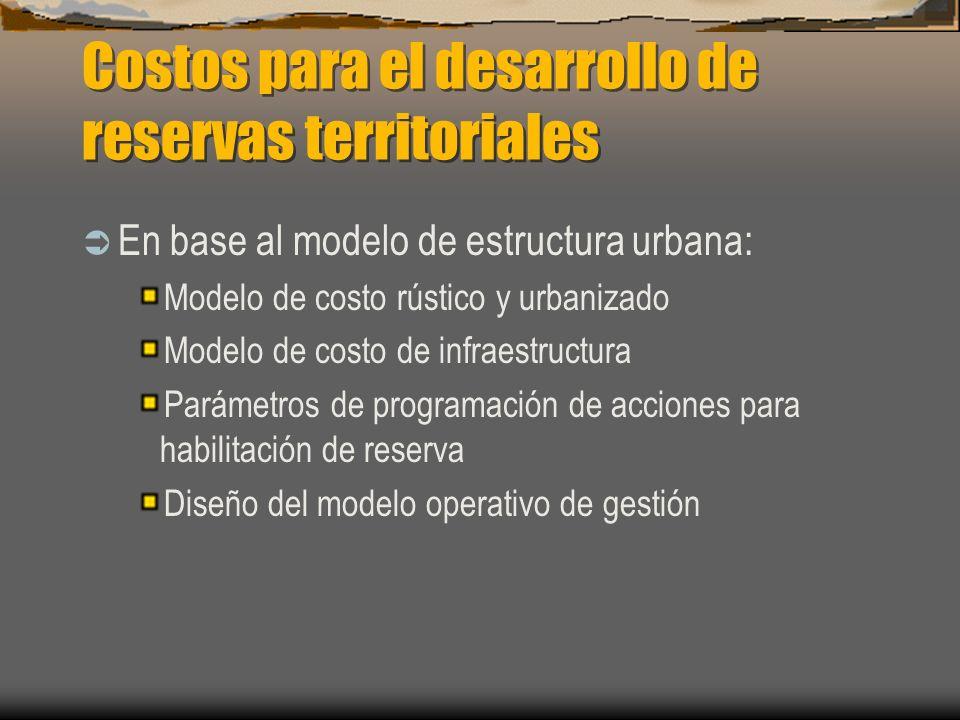 Costos para el desarrollo de reservas territoriales En base al modelo de estructura urbana: Modelo de costo rústico y urbanizado Modelo de costo de in