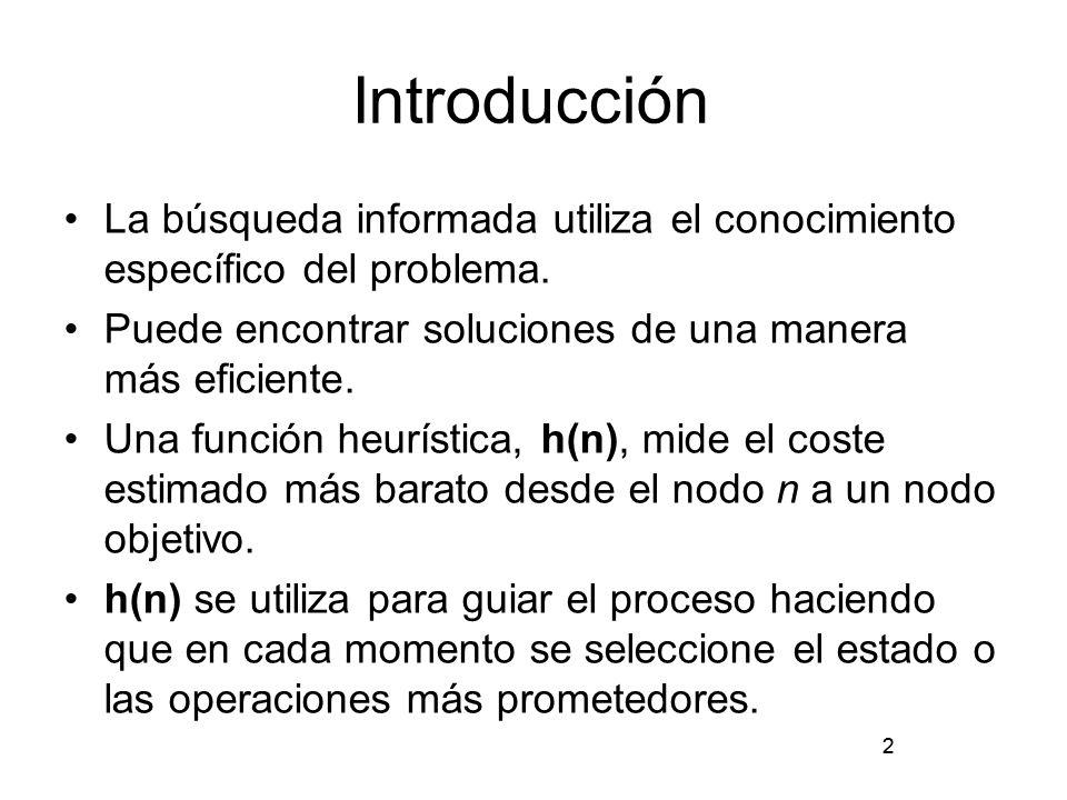 2 Introducción La búsqueda informada utiliza el conocimiento específico del problema. Puede encontrar soluciones de una manera más eficiente. Una func