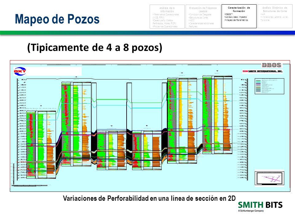 Variaciones de Perforabilidad en una línea de sección en 2D (Tipicamente de 4 a 8 pozos) Mapeo de Pozos Análisis de la Información Parámetros Operacionales (WOB, RPM) Desempeño (Metros Perforados, Horas, ROP) Problemas Operacionales Evaluación de Trépanos Usados Condición de Desgaste Estructura de Corte IADC Características adicionales (features) Caracterización de Formación DBOS Abrasividad, Impacto Mapeo de Parámetros Análisis Dinámico de Estructuras de Corte IAR Vibraciones: Lateral, Axial, Torsional