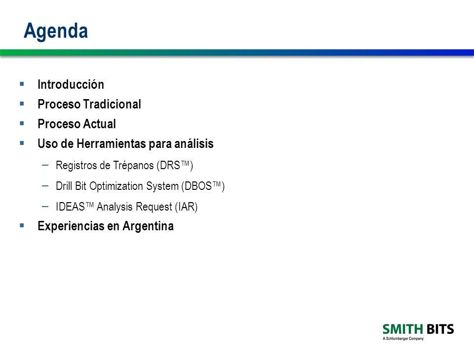 Agenda Introducción Proceso Tradicional Proceso Actual Uso de Herramientas para análisis – Registros de Trépanos (DRS) – Drill Bit Optimization System (DBOS) – IDEAS Analysis Request (IAR) Experiencias en Argentina