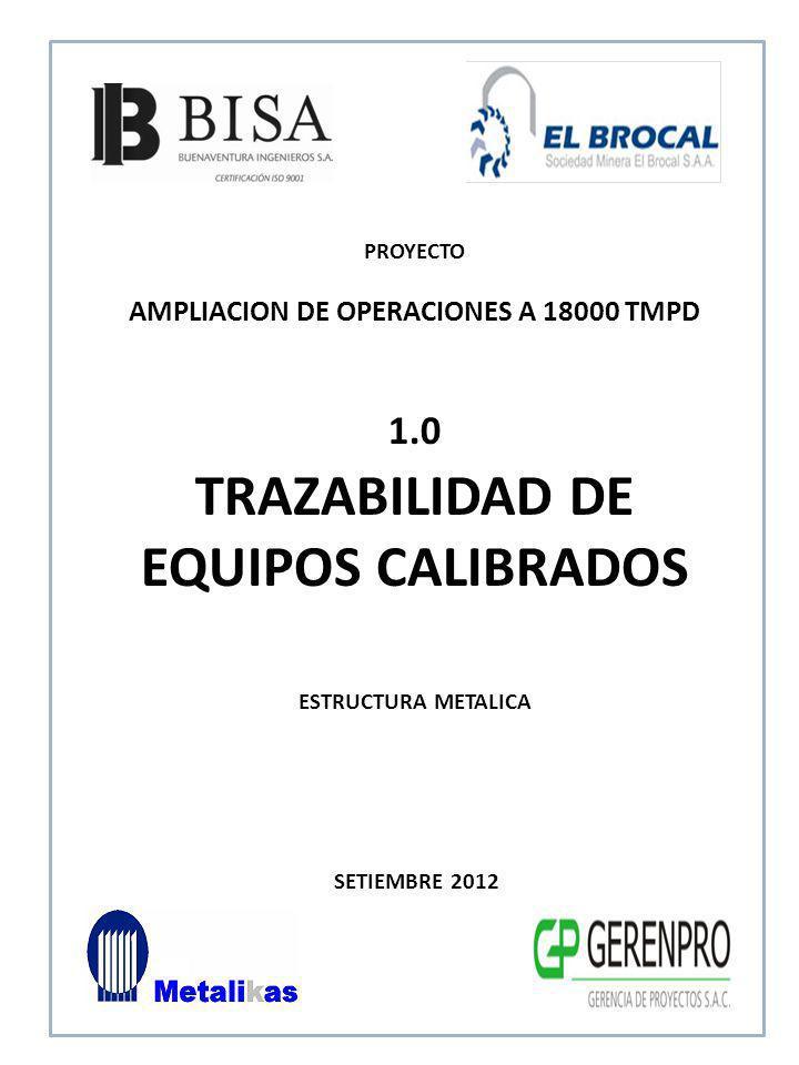 SETIEMBRE 2012 1.0 TRAZABILIDAD DE EQUIPOS CALIBRADOS ESTRUCTURA METALICA PROYECTO AMPLIACION DE OPERACIONES A 18000 TMPD