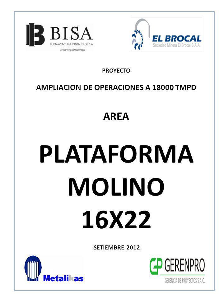 SETIEMBRE 2012 AREA PLATAFORMA MOLINO 16X22 PROYECTO AMPLIACION DE OPERACIONES A 18000 TMPD