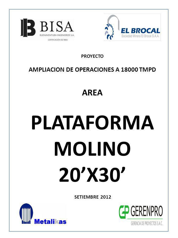 SETIEMBRE 2012 AREA PLATAFORMA MOLINO 20X30 PROYECTO AMPLIACION DE OPERACIONES A 18000 TMPD