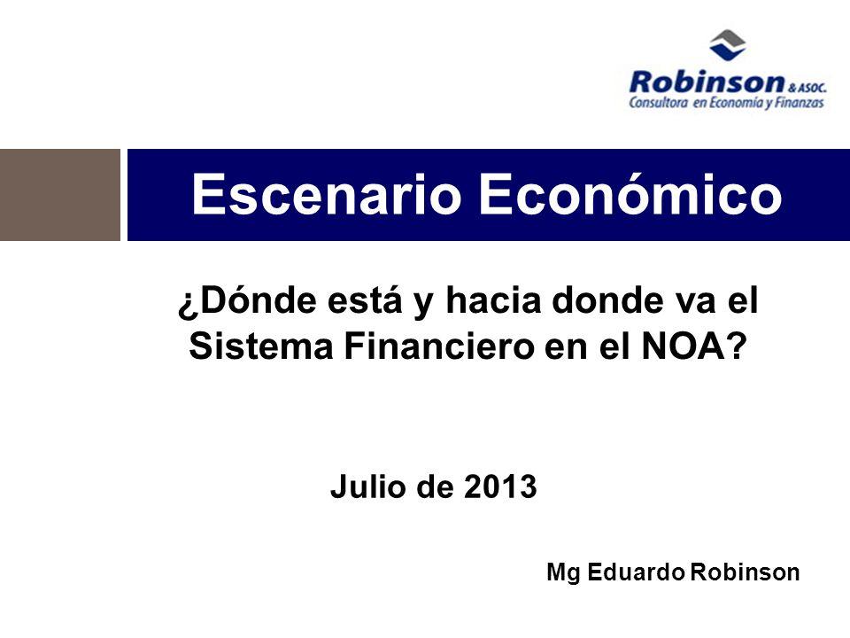 Escenario Económico Julio de 2013 Mg Eduardo Robinson ¿Dónde está y hacia donde va el Sistema Financiero en el NOA