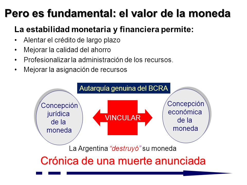 La estabilidad monetaria y financiera permite: Alentar el crédito de largo plazo Mejorar la calidad del ahorro Profesionalizar la administración de los recursos.