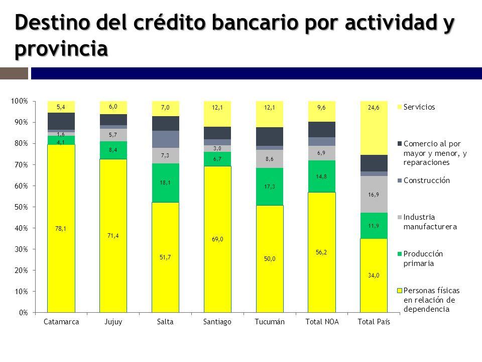 Destino del crédito bancario por actividad y provincia
