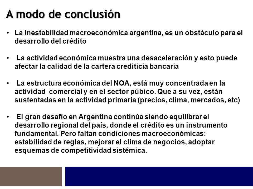 A modo de conclusión La inestabilidad macroeconómica argentina, es un obstáculo para el desarrollo del crédito La actividad económica muestra una desaceleración y esto puede afectar la calidad de la cartera crediticia bancaria La estructura económica del NOA, está muy concentrada en la actividad comercial y en el sector púbico.