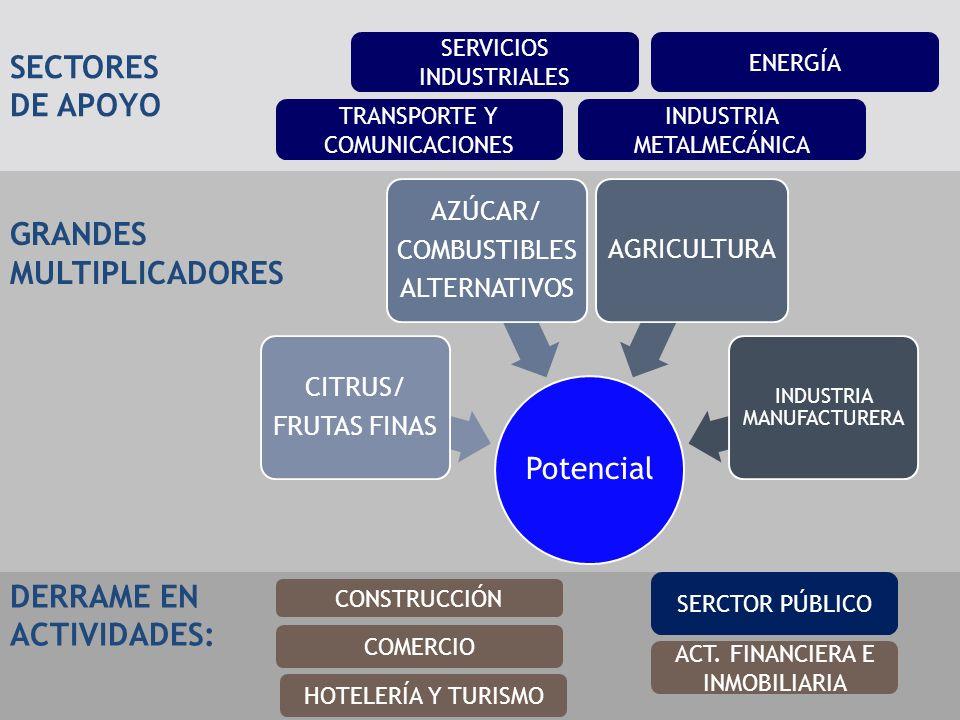GRANDES MULTIPLICADORES SECTORES DE APOYO TRANSPORTE Y COMUNICACIONES SERVICIOS INDUSTRIALES INDUSTRIA METALMECÁNICA ENERGÍA DERRAME EN ACTIVIDADES: CONSTRUCCIÓN ACT.