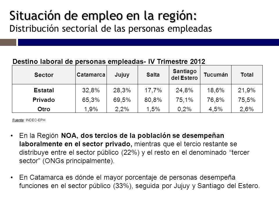 Situación de empleo en la región: Situación de empleo en la región: Distribución sectorial de las personas empleadas Destino laboral de personas empleadas- IV Trimestre 2012 Sector CatamarcaJujuySalta Santiago del Estero TucumánTotal Estatal32,8%28,3%17,7%24,8%18,6%21,9% Privado65,3%69,5%80,8%75,1%76,8%75,5% Otro1,9%2,2%1,5%0,2%4,5%2,6% Fuente: INDEC-EPH En la Región NOA, dos tercios de la población se desempeñan laboralmente en el sector privado, mientras que el tercio restante se distribuye entre el sector público (22%) y el resto en el denominado tercer sector (ONGs principalmente).