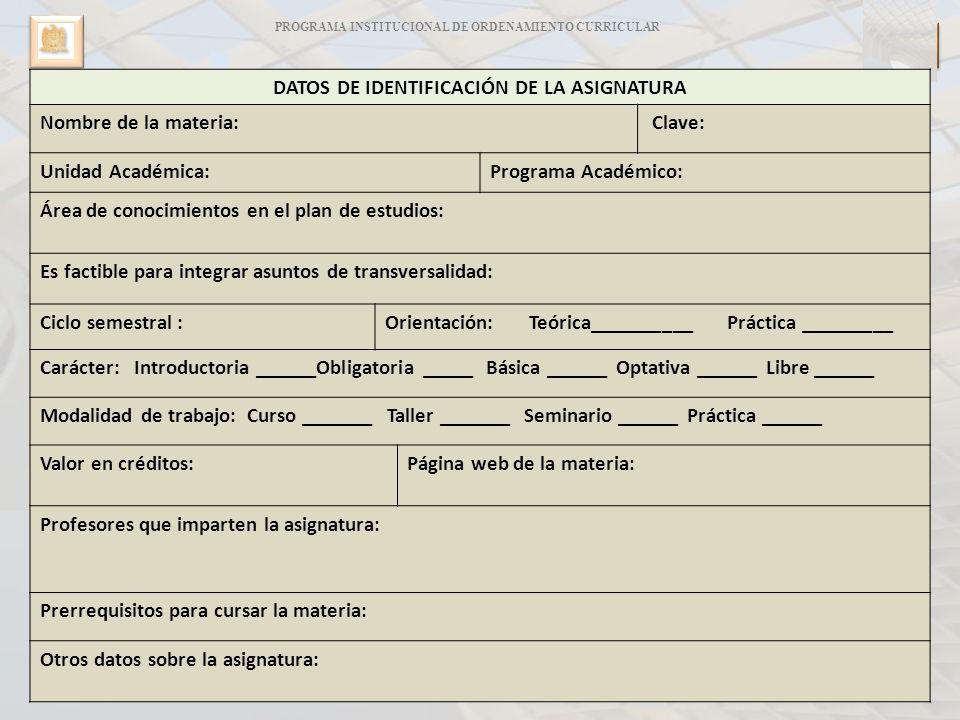 88 PROGRAMA INSTITUCIONAL DE ORDENAMIENTO CURRICULAR C P I O 45 DATOS DE IDENTIFICACIÓN DE LA ASIGNATURA Nombre de la materia: Clave: Unidad Académica