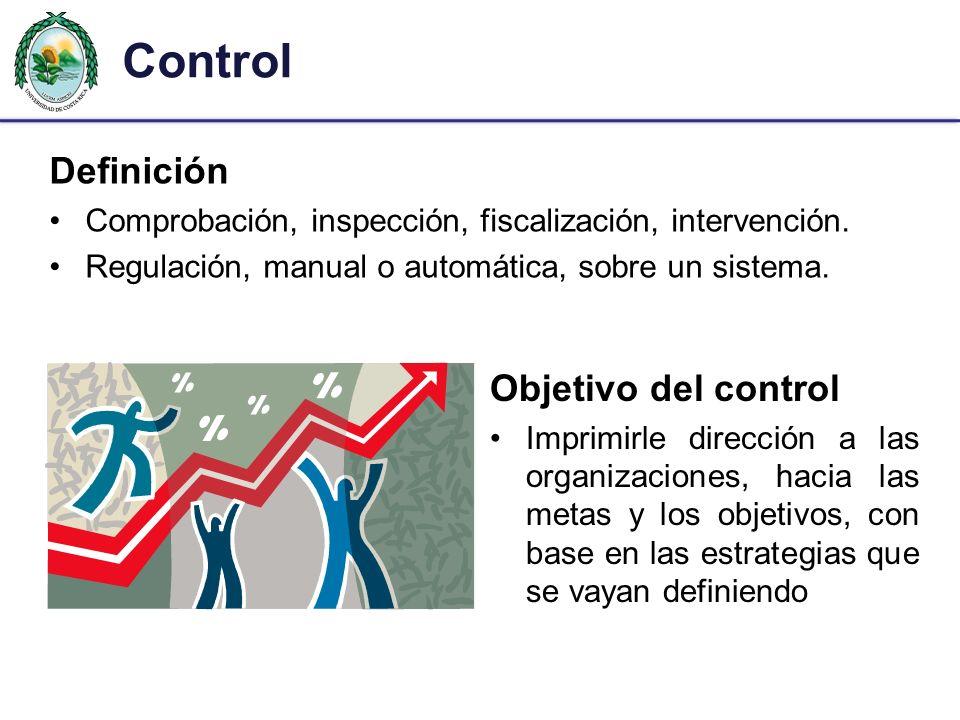 Control Definición Comprobación, inspección, fiscalización, intervención. Regulación, manual o automática, sobre un sistema. Objetivo del control Impr