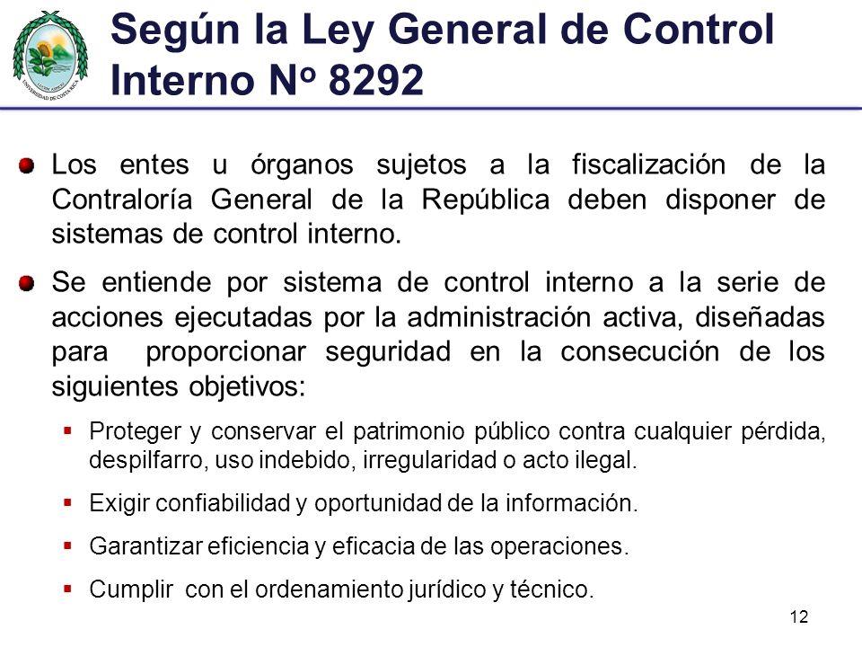 Según la Ley General de Control Interno N o 8292 Los entes u órganos sujetos a la fiscalización de la Contraloría General de la República deben dispon