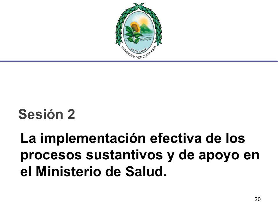 La implementación efectiva de los procesos sustantivos y de apoyo en el Ministerio de Salud. Sesión 2 20