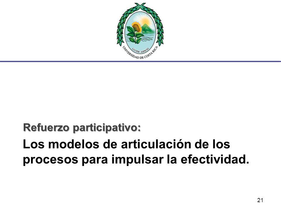 Los modelos de articulación de los procesos para impulsar la efectividad. Refuerzo participativo: 21