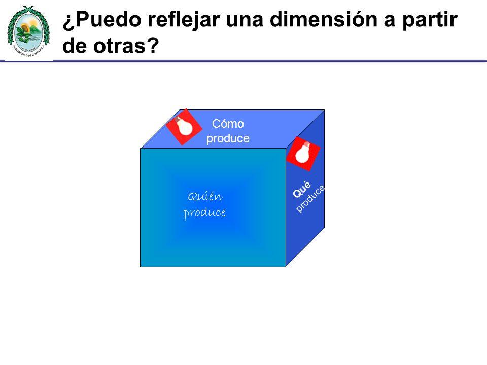Cómo produce Qué produce Quién produce ¿Puedo reflejar una dimensión a partir de otras?