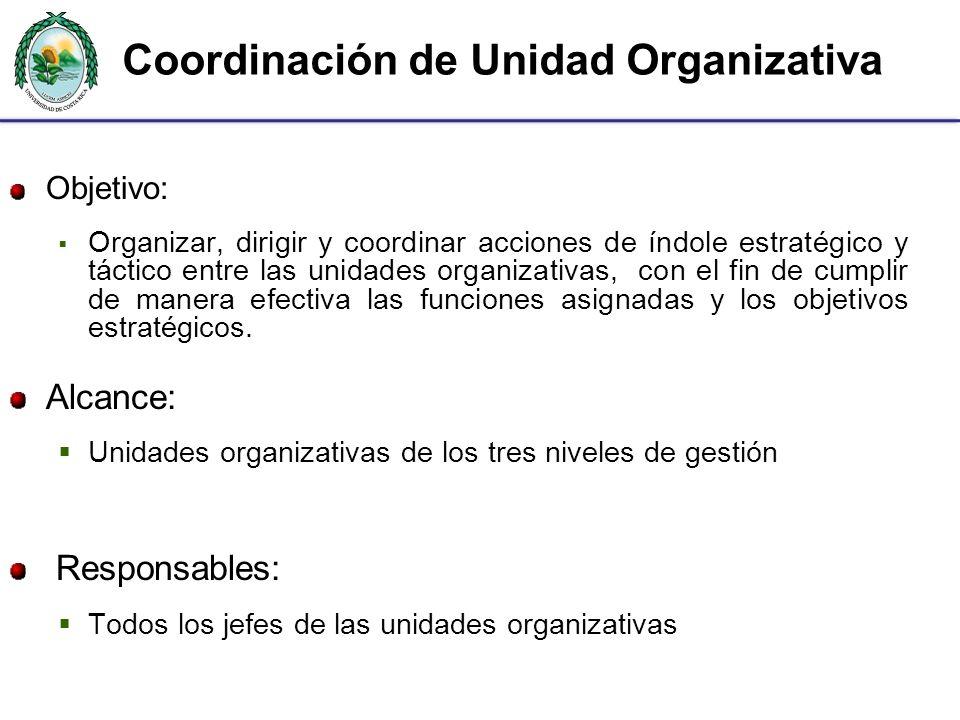 Coordinación de Unidad Organizativa Objetivo: Organizar, dirigir y coordinar acciones de índole estratégico y táctico entre las unidades organizativas