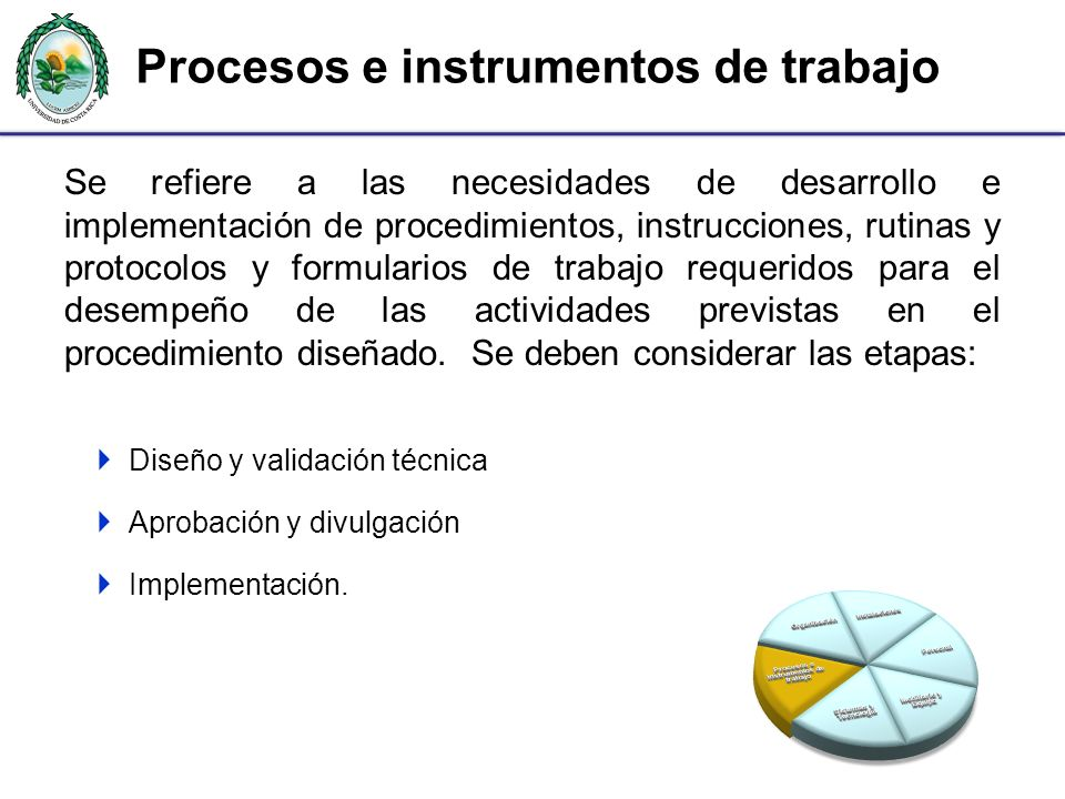 Procesos e instrumentos de trabajo Se refiere a las necesidades de desarrollo e implementación de procedimientos, instrucciones, rutinas y protocolos