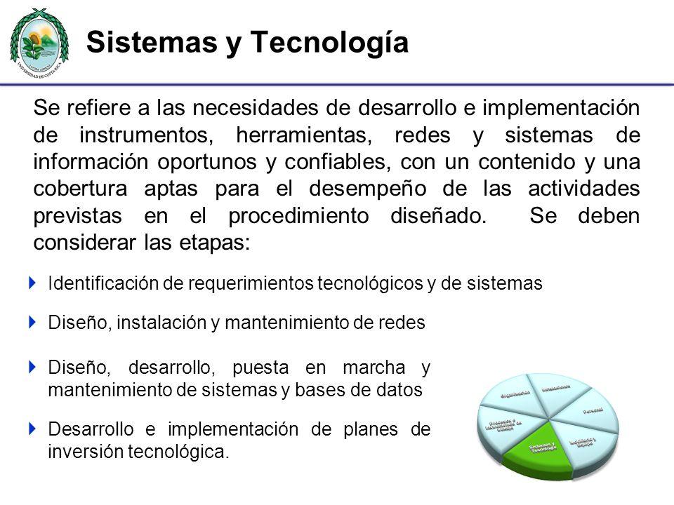 Sistemas y Tecnología Se refiere a las necesidades de desarrollo e implementación de instrumentos, herramientas, redes y sistemas de información oport