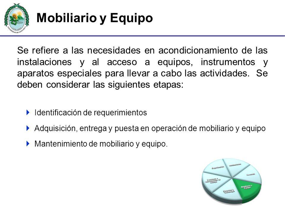 Mobiliario y Equipo Se refiere a las necesidades en acondicionamiento de las instalaciones y al acceso a equipos, instrumentos y aparatos especiales p