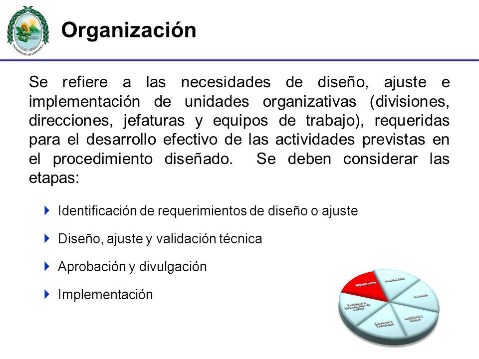Organización Se refiere a las necesidades de diseño, ajuste e implementación de unidades organizativas (divisiones, direcciones, jefaturas y equipos d